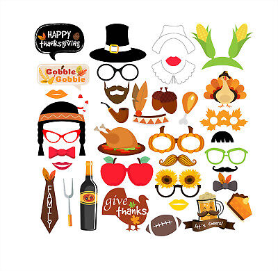 Thanksgiving Day Party Supplies Decorations Masks Photo Booth Props 37 Counts US](Thanksgiving Party Supplies)