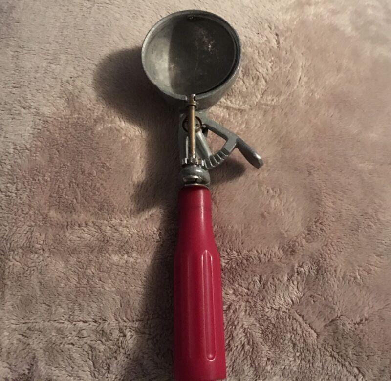 Rare Antique Retro Ice Cream Dipper Scoop with Red Bakelite Handle