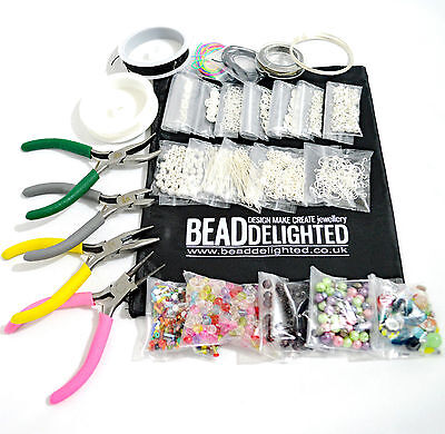 Large Jewellery Making Kit Silver Plated Beads, Findings, Pliers & Threads