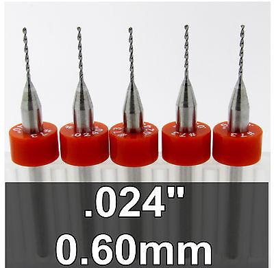 .024 0.60mm 73 - Five Carbide Drill Bits - Wood Metal Plastic Aluminum Cnc Rs