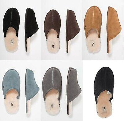 Authentic UGG brand Men's Shoes Scuff Sheepskin Slippers Black Chestnut Blue New