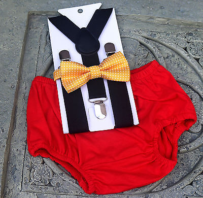 1st Birthday boy cake smash bow tie Red black yellow outfit 12 m  Mickey mouse - First Birthday Boys