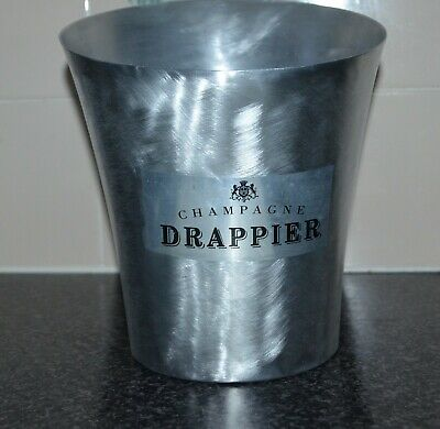 VINTAGE DRAPPIER CHAMPAGNE BRUSHED ALUMINIUM ICE BUCKET.