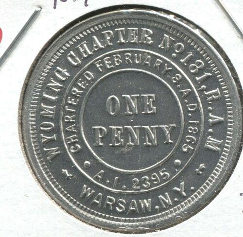 Masonic Exonumia - 1865 Wyoming Chapter # 181 R.A.M. - Warsaw, NY - EC #133