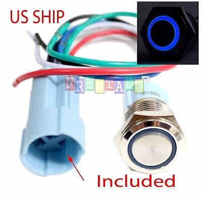Ssf 16mm Blue Angel Eye Led 12v Latching Push Button Power Switch Waterproof