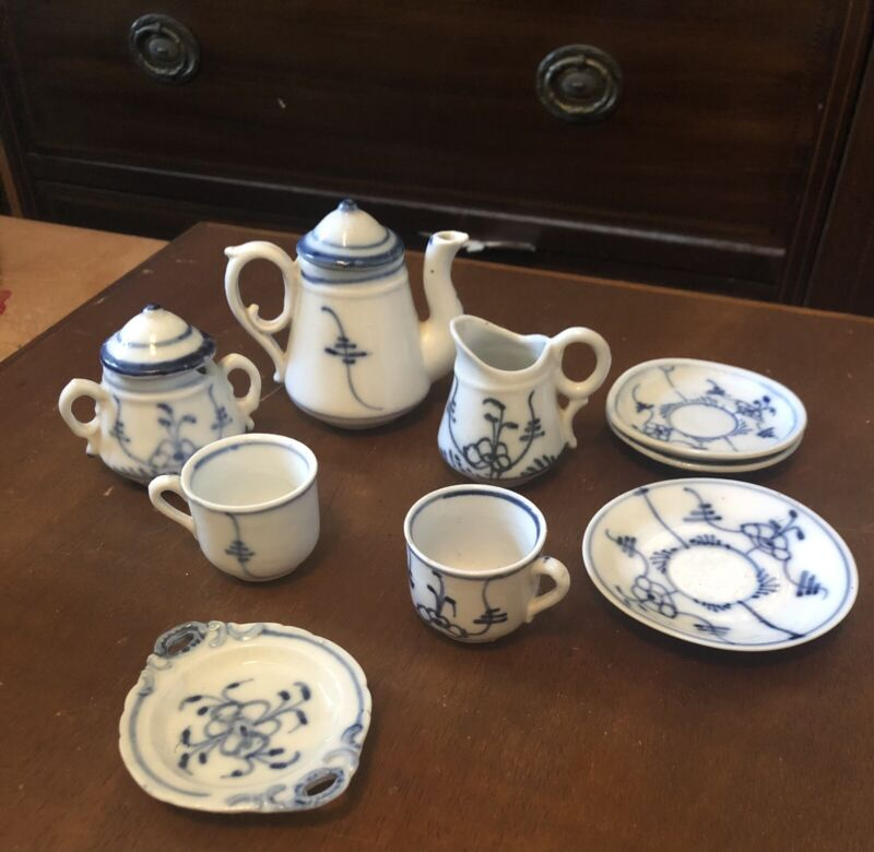 Blue and White Childs Tea Set Antique Very Old 19th Century HTF