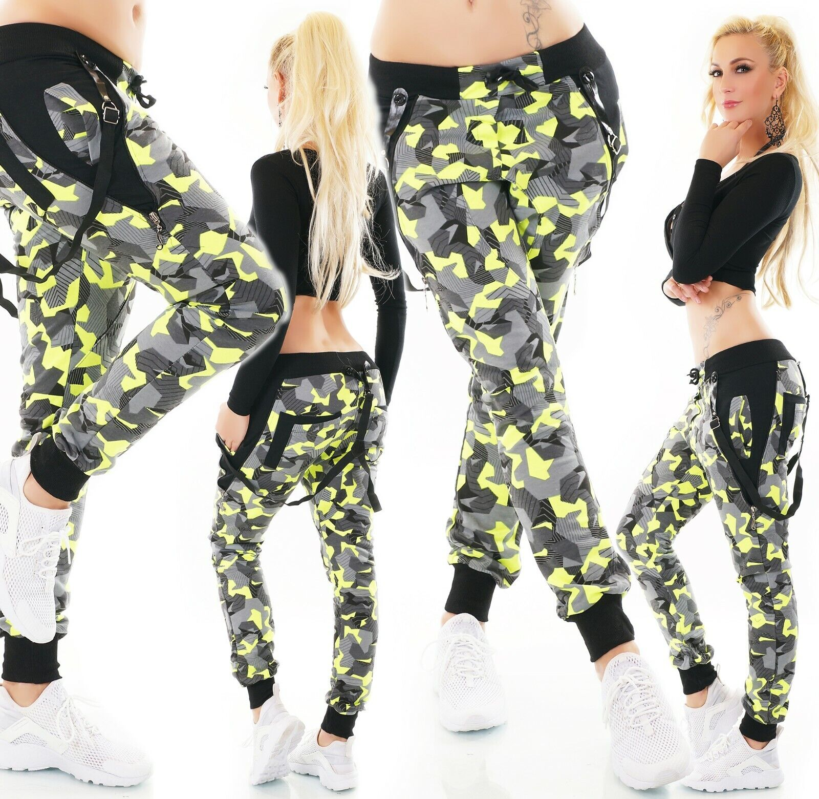 Neon Jogpants XS-XXL Jogging Hose Army Camouflage Hosenträger Freizeithose 3