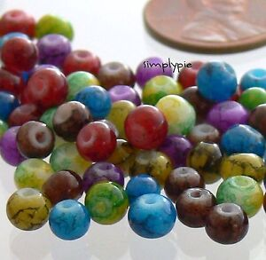4-5mm Round Speckled Jewel Tone Glass Beads 100