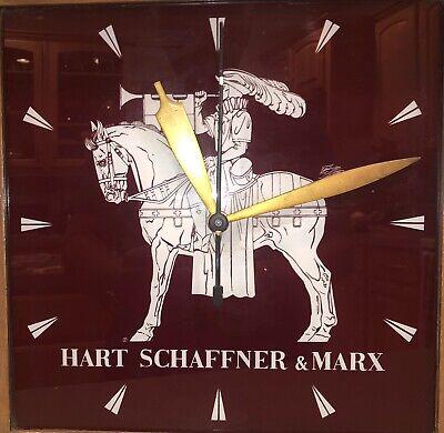 Vintage 1950s Hart Schaeffner Marx Advertising Light Up Clock Horse Knight Sign