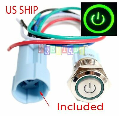 Ssf 16mm Green On Off Led 12v Latching Push Button Power Switch Waterproof