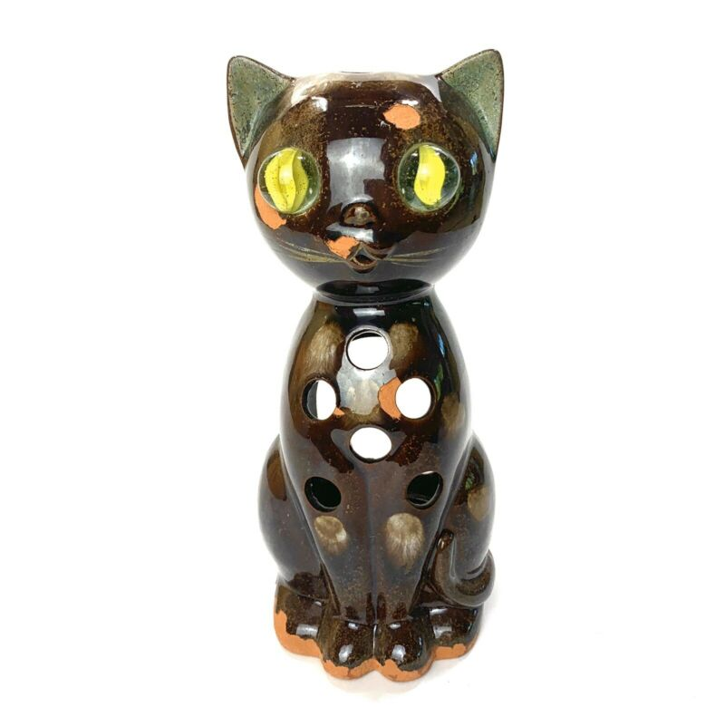 """Vintage Mid Century Halloween Cat Candle Holder Glass Marble Eyes 7.75"""""""