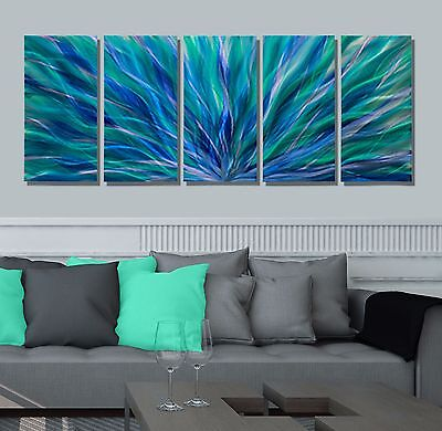 Statements2000 Abstract Metal Wall Art Painting Panels by Jon Allen Blue Aurora
