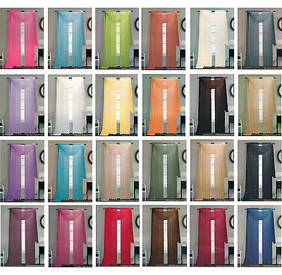 SOLID SHEER WINDOW 1 PIECE PANEL / CURTAIN VOILE MANY COLORS ROD POCKET 84