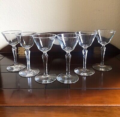 Set Of 6 Vintage Etched Stem Crystal Cordial Liqueur Sherry Glasses Stemware Crystal Glass Sherry Glass