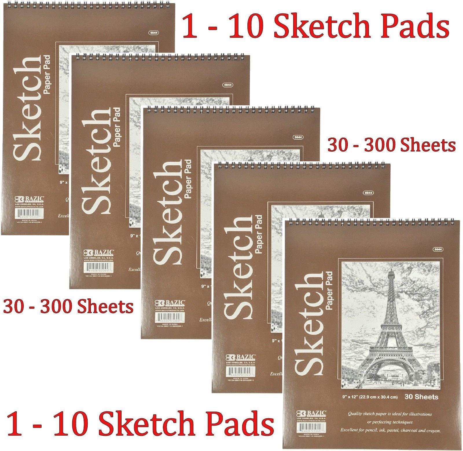 "Spiral Sketch Pad Book 9"" x 12"" Art Drawing Paper 30 sheets"