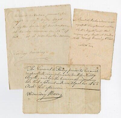 1782 Rochambeau Ball Invitation w/ Two Related RI Rev War Mss. Yorktown Victory