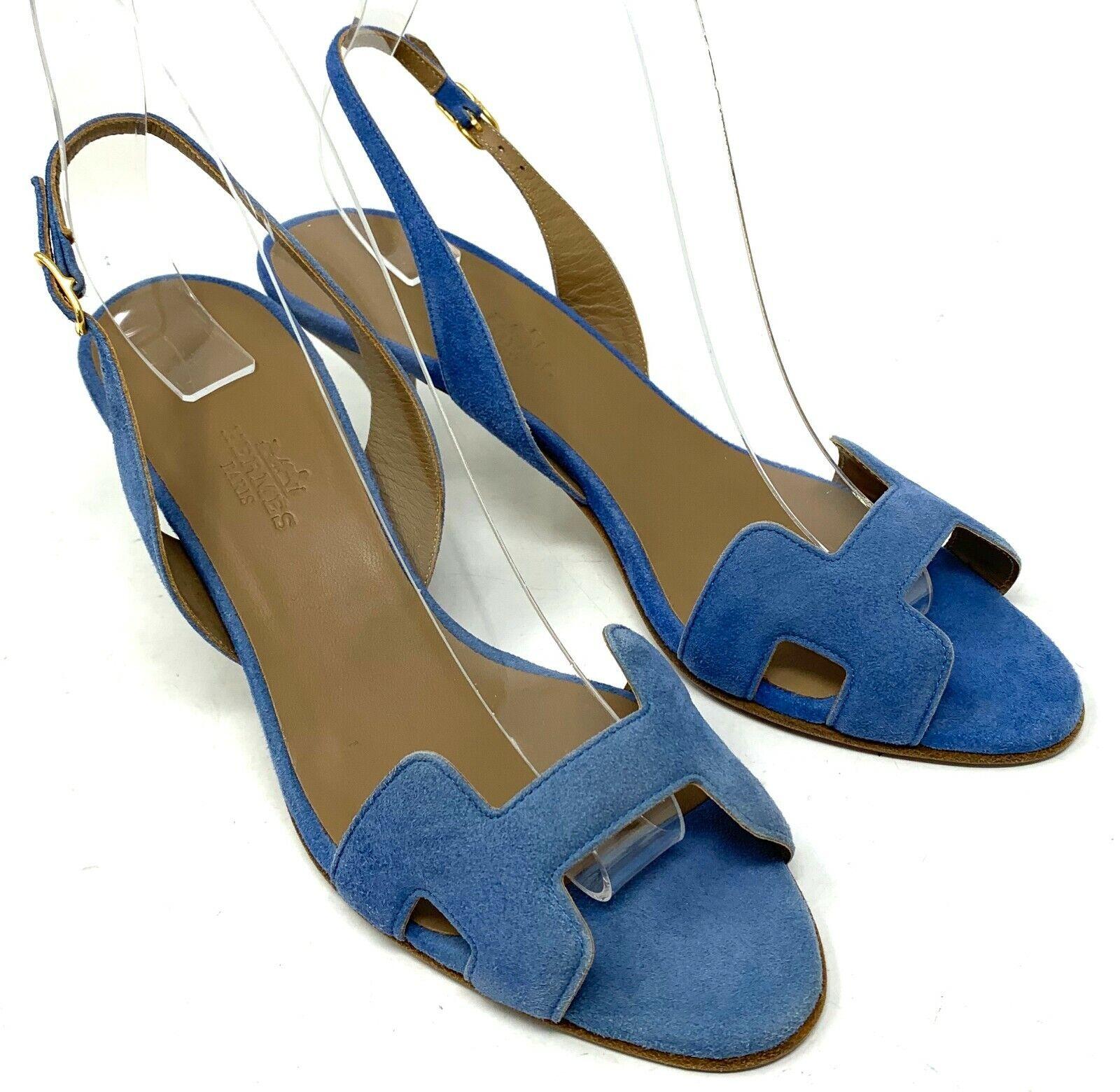 Authentique hermes daim sandales talons première #36.5 us6.5 bleu bride rank ab