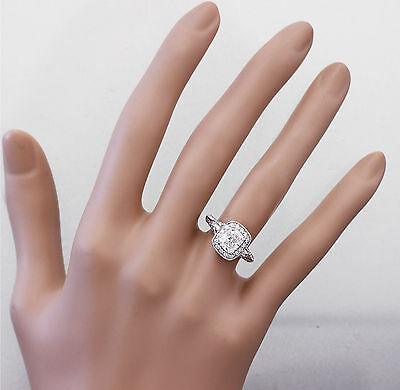GIA G-SI1 14K WHITE GOLD CUSHION CUT DIAMOND ENGAGEMENT RING DECO 1.70CTW 2