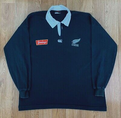 1994-96 NEW ZEALAND ALL BLACKS Long Sleeve Rugby Shirt | STEINLAGER | XL Black