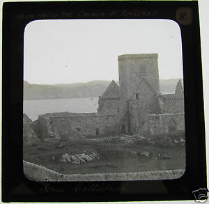 Glass-Magic-lantern-slide-IONA-CATHEDRAL-C1890-THE-HEBRIDES-SCOTLAND