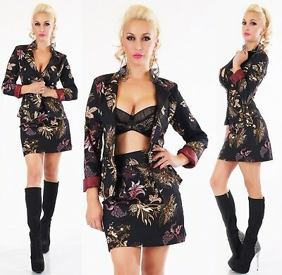 ITALY Damen Kostüm Blazer Jacke + Rock 2-teilig Anzug Blumen Print schwarz S M - Damen Blume Kostüm