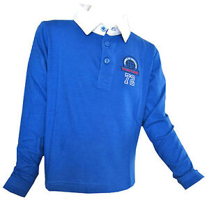 Boys New Rugby Shirt Royal Blue Long Sleeved Polo Shirt