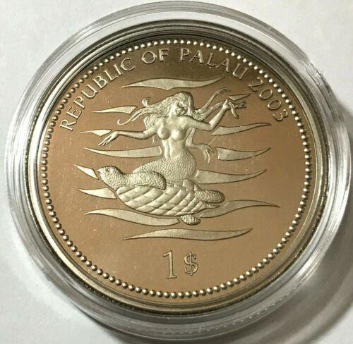 2003 Palau 1 dollar, Clownfish, Mermaid, wildlife, animal, BU coin