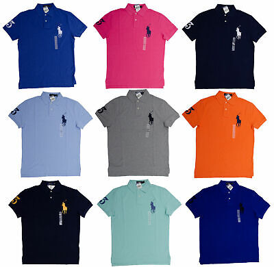 - Men CUSTOM FIT Polo Ralph Lauren BIG PONY Polo Shirt Mesh  - Size S M L XL XXL