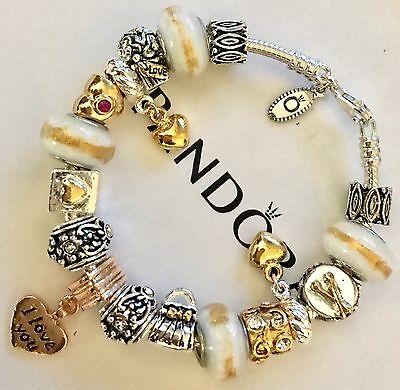 Authentic Pandora Silver Charm Bracelet With White Love European Charms