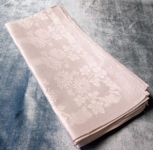 "Antique Linen Damask Lapkins 6 with Florals & Ribbons 24"" Beautiful!"