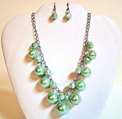 Chunky Necklace Earrings Set Bubble Bib Statement Silver Tone Fashion Jewelry (Jewellery Necklace Earrings)