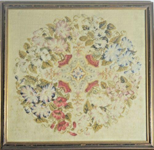 Antique 19th Century Framed Needlework Flowers.   VV517