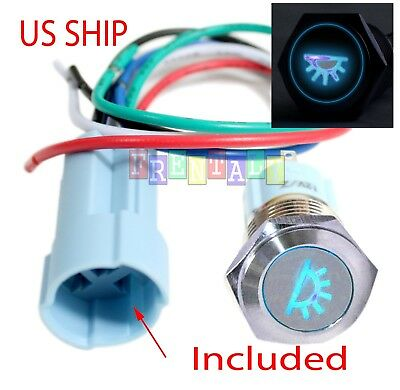 Ssf 16mm Blue Dome Driving Led 12v Latching Push Button Power Switch Waterproof