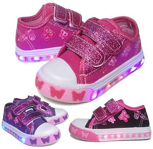 Light Up Baby Toddler Girls Velcro Strap Canvas Flat