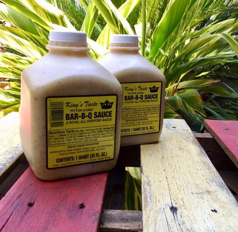 King's Taste Bar-B-Q Sauce 2 Pk. - 1 Quart Eustis, FL Original Mustard Sauce BBQ