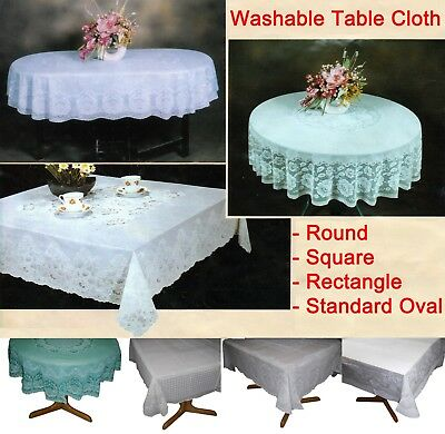 Patterned Tablecloth (Table Cloth Cover Tablecloth Round Square Oval Rectangle Plastic Lace)