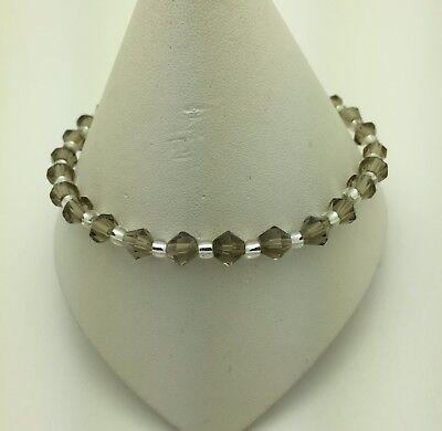 "Black Diamond (Smoke) Stretch Anklet Ankle Bracelet - 10"""