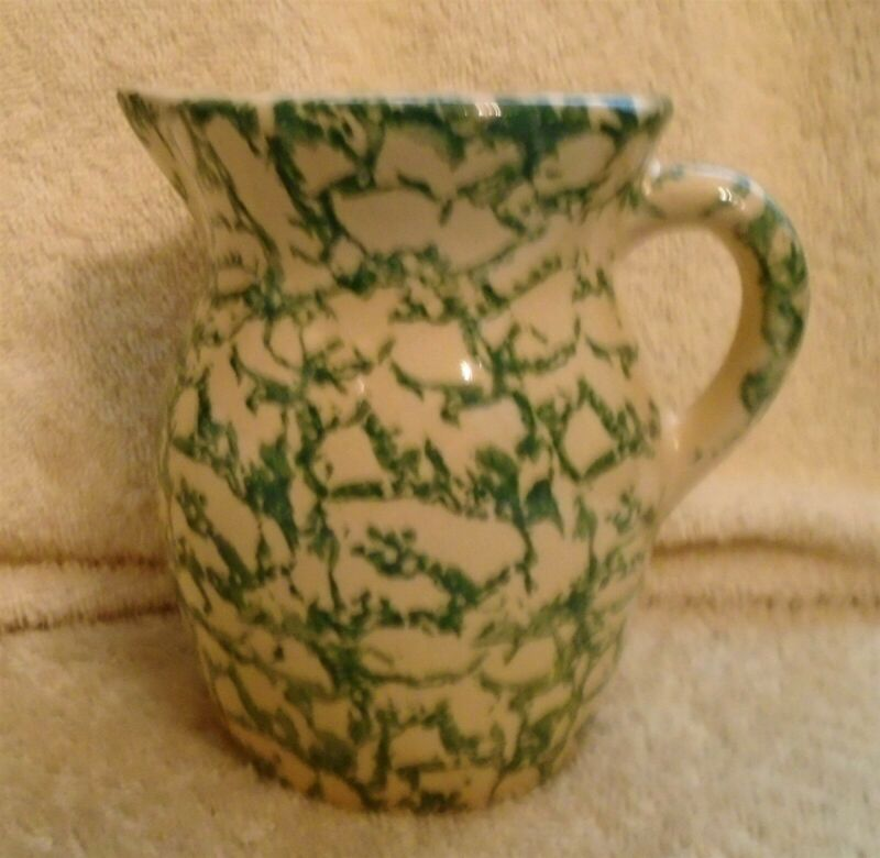 Vintage Robinson Ransbottom Pottery Roseville O Green Spongeware Small Pitcher