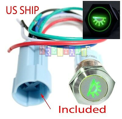 SSF 16mm Green Dome Driving LED 12V Latching Push Button Power Switch Waterproof
