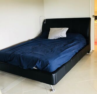 Queen size black leather frame BED + mattress