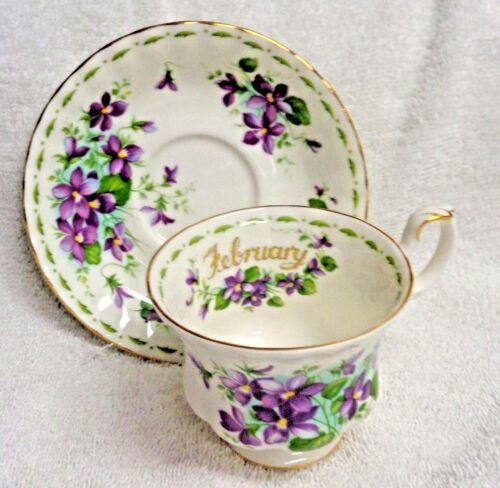 Royal Albert Flower of the Month February Violets    Cup and Saucer  1970