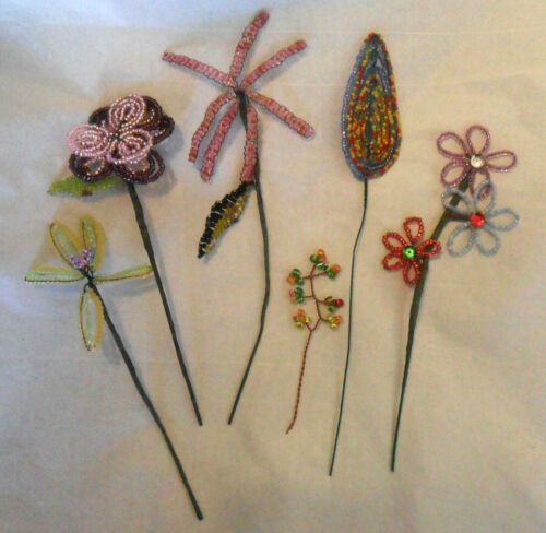 Lot 6 Handmade French Vintage Glass Beaded FLOWERS Stems Sequins Great Condition