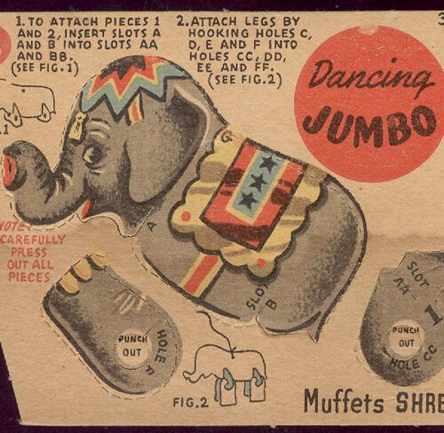 1951 JUMBO DANCING CIRCUS COMPLETE PUPPET, QUAKER MUFFETS SHREDDED WHEAT  K746