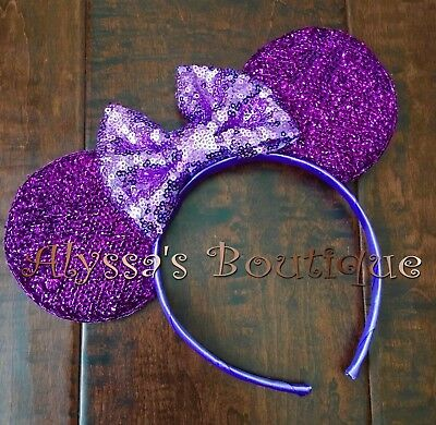 Minnie Mouse Ear Headband New Sparkly Shiny Purple Ears Big Lavender Sequin Bow