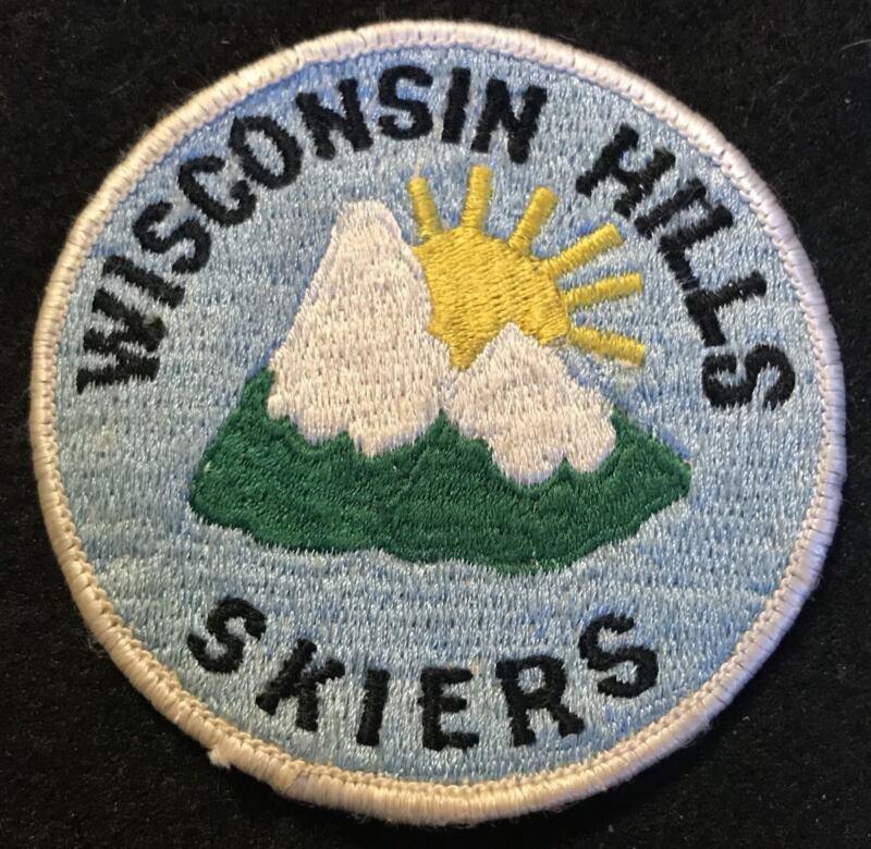 WISCONSIN HILLS SKIERS Vtg Ski Patch Souvenir Travel Elmbrook Middle School?