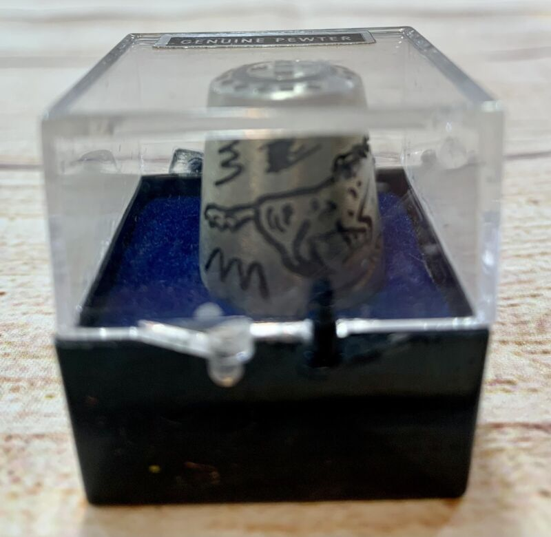 Genuine Thimble Pewter With Horses And Markings
