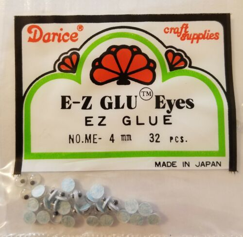 12 Packs Darice Crafts E-Z GLU Glue Movable Wiggle Googly Eyes 4mm Tiny Round