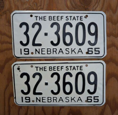 1965 Nebraska License Plate PAIR / SET  - UNUSED