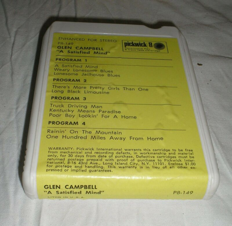 Glenn Campbell - A Satisfied Mind - 8 Eight Track Tape