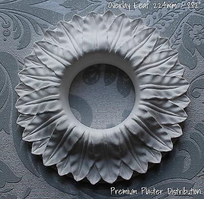 "Small Overlay Leaf, Plaster Ceiling Rose  Center ""Removed Center"" 224 mm / 8.82"""